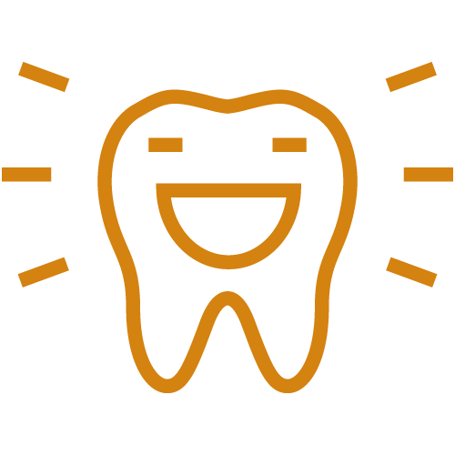 An orange icon of a tooth that has a smiling face on it